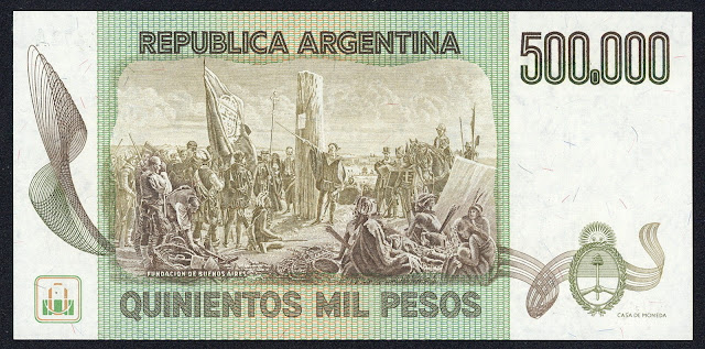 Argentina money currency 500000 Pesos banknote 1980 Don Juan de Garay and the second founding of Buenos Aires in 1580