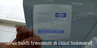 Struk bukti transaksi di i.kios Indomaret