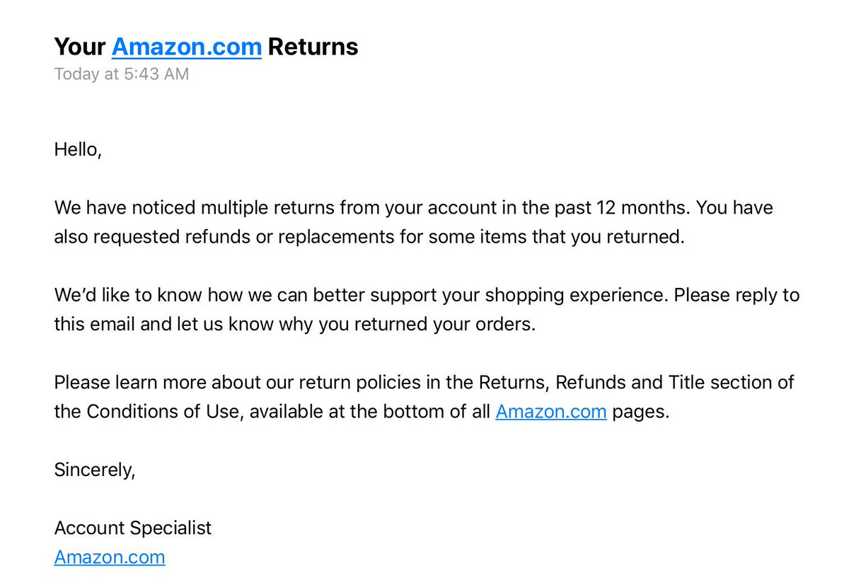 Amazon vetoes users who make many returns
