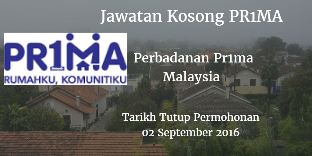 Jawatan Kosong PR1MA 02 September 2016