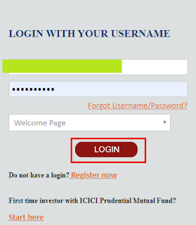 ICICI Prudential Mutual Fund - Login Page