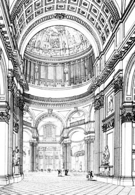 Inside of St Paul's Cathedral  from Illustrations of the public buildings of London by J Britton and A Pugin (1825)