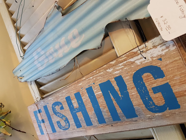 fishing tin and wood sign, the Camellia, Thunder Bay