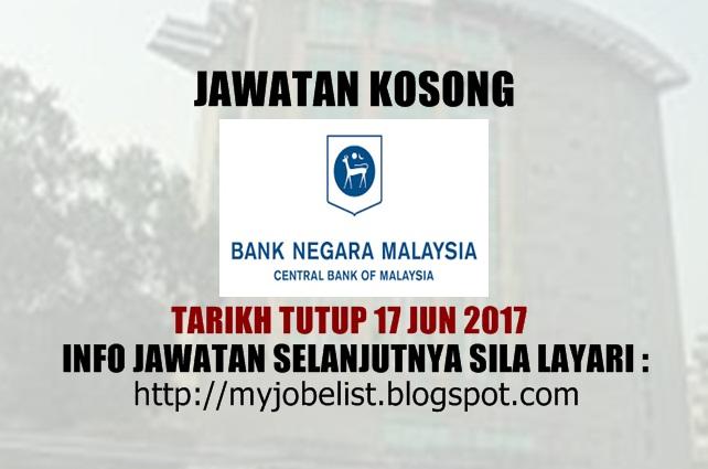 Jawatan Kosong di Bank Negara Malaysia (BNM) Jun 2017