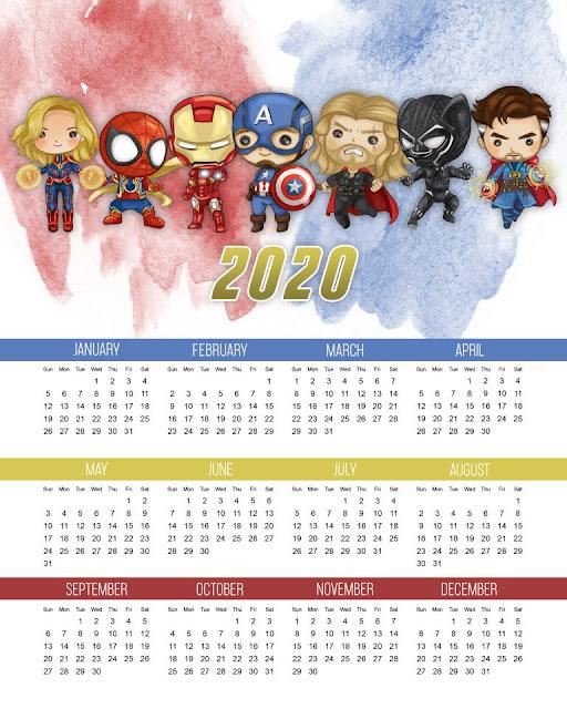 Avengers: Free Printable 2020 Calendar.