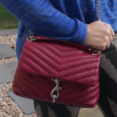 cobalt marle knit with Rebecca Minkoff Edie small crossbody bag in magenta | away from the blue