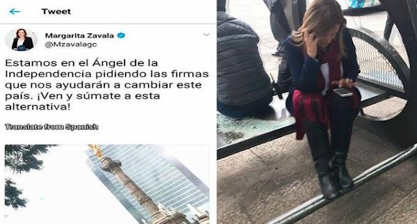 Margarita Zavala pidió firmas en el Ángel de la Independencia, Y TODOS LA IGNORAN.