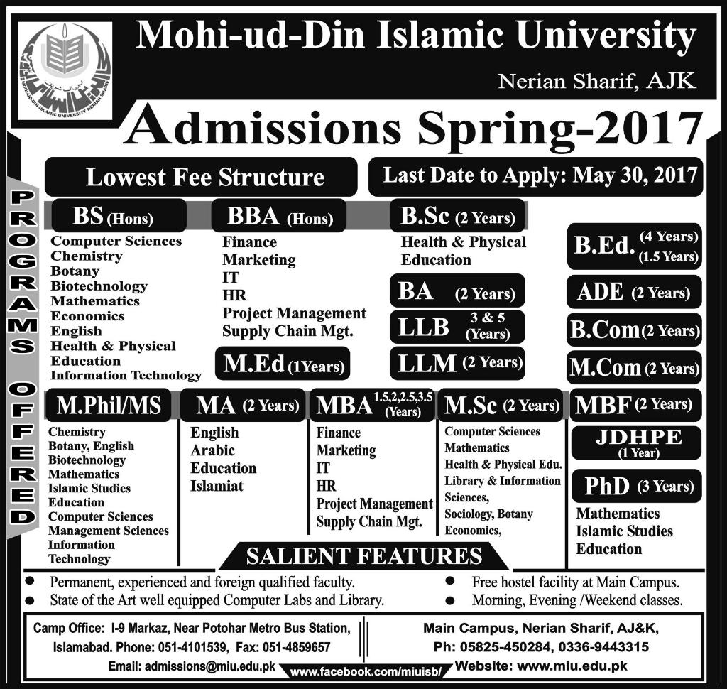 Admission Open in Mohi ud Din Islamic University Islamabad spring 2017