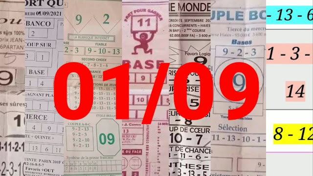 Pronostics quinté+ pmu Mercredi Paris-Turf-100 % 01/09/2021