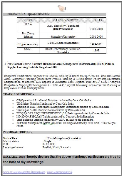 resume format fmcg resume format cover letter and resume samples
