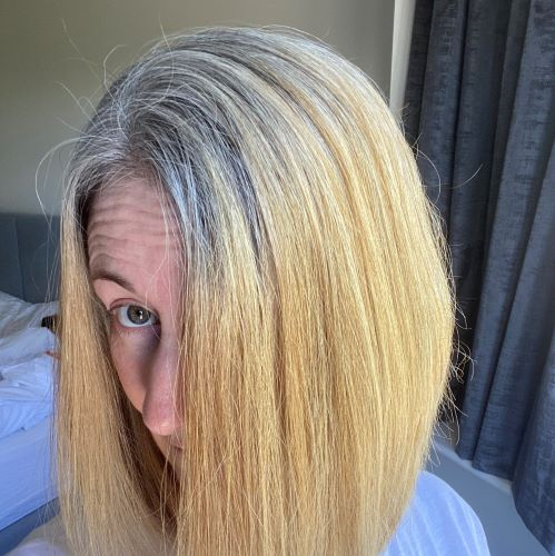 grey blonde multicoloured hair