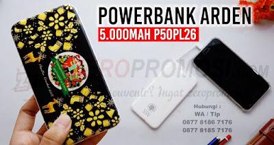 Jual Powerbank Arden 5000mAh P50PL26 untuk souvenir promosi, Powerbank P50PL26, merchandise promosi p50pl26, Powerbank Arden 5000mAh, Powerbank Slim with Builtdiin Cable 5.000mAh P50PL26