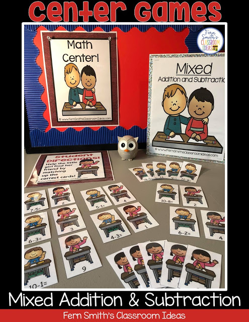 FERN'S FREEBIE FRIDAY ~ BACK TO SCHOOL MIXED ADDITION AND SUBTRACTION CENTER GAMES FREEBIE #FernSmithsClassroomIdeas