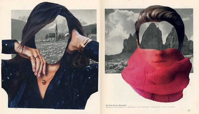 Collage of mountains and women from vintage book