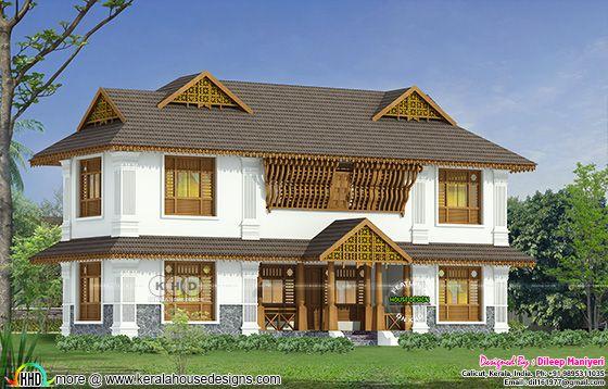 2505 sq-ft 4 bedroom traditional Kerala home
