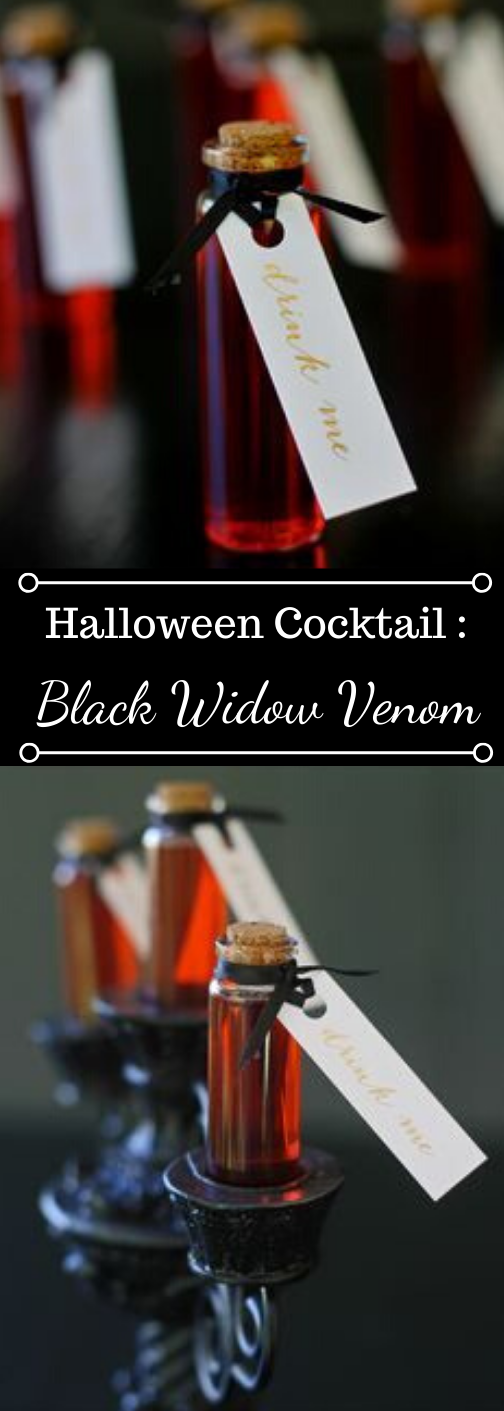 HALLOWEEN COCKTAIL BLACK WIDOW VENOM #drink #cocktail #black #halloween #party