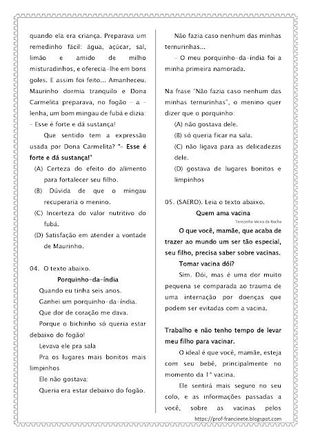SIMULADO DE PORTUGUÊS – 4º E 5º ANO ALINHADO AO DESCRITOR 3