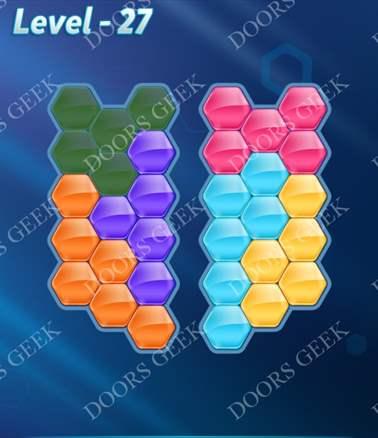 Block! Hexa Puzzle [6 Mania] Level 27 Solution, Cheats, Walkthrough for android, iphone, ipad, ipod