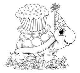 Tranh cho bé tô màu con rùa và bánh sinh nhật