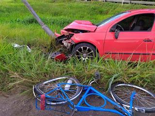 Ciclista é atropelado a caminho do trabalho na Paraíba