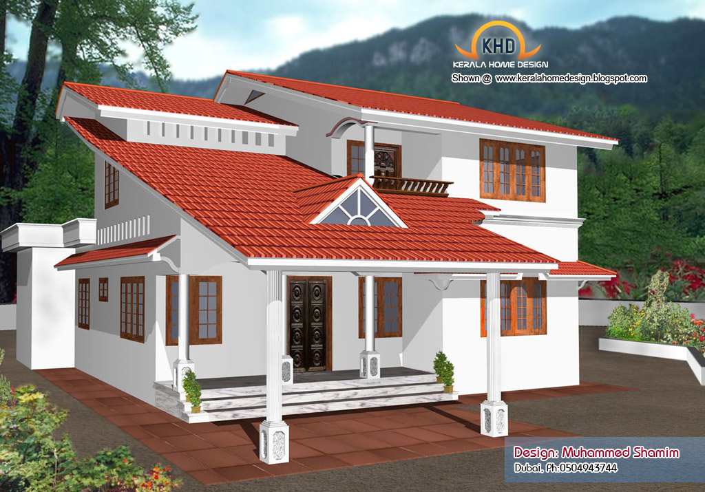 5 beautiful home elevation designs in 3d kerala home for New kerala house plans with front elevation