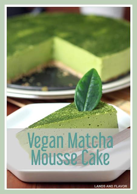 Delicious dessert of vegan matcha mousse cake