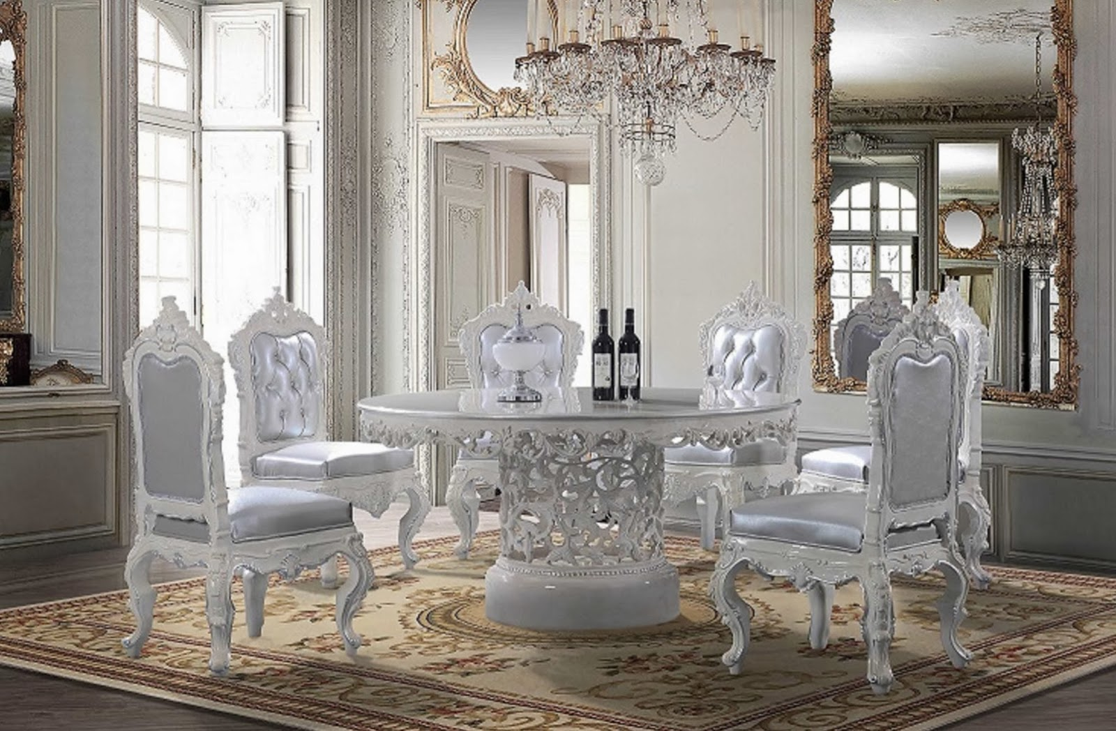 Dealshopperz Com Hds Victorian Round Dining Table With Decorative Center And White Decorative