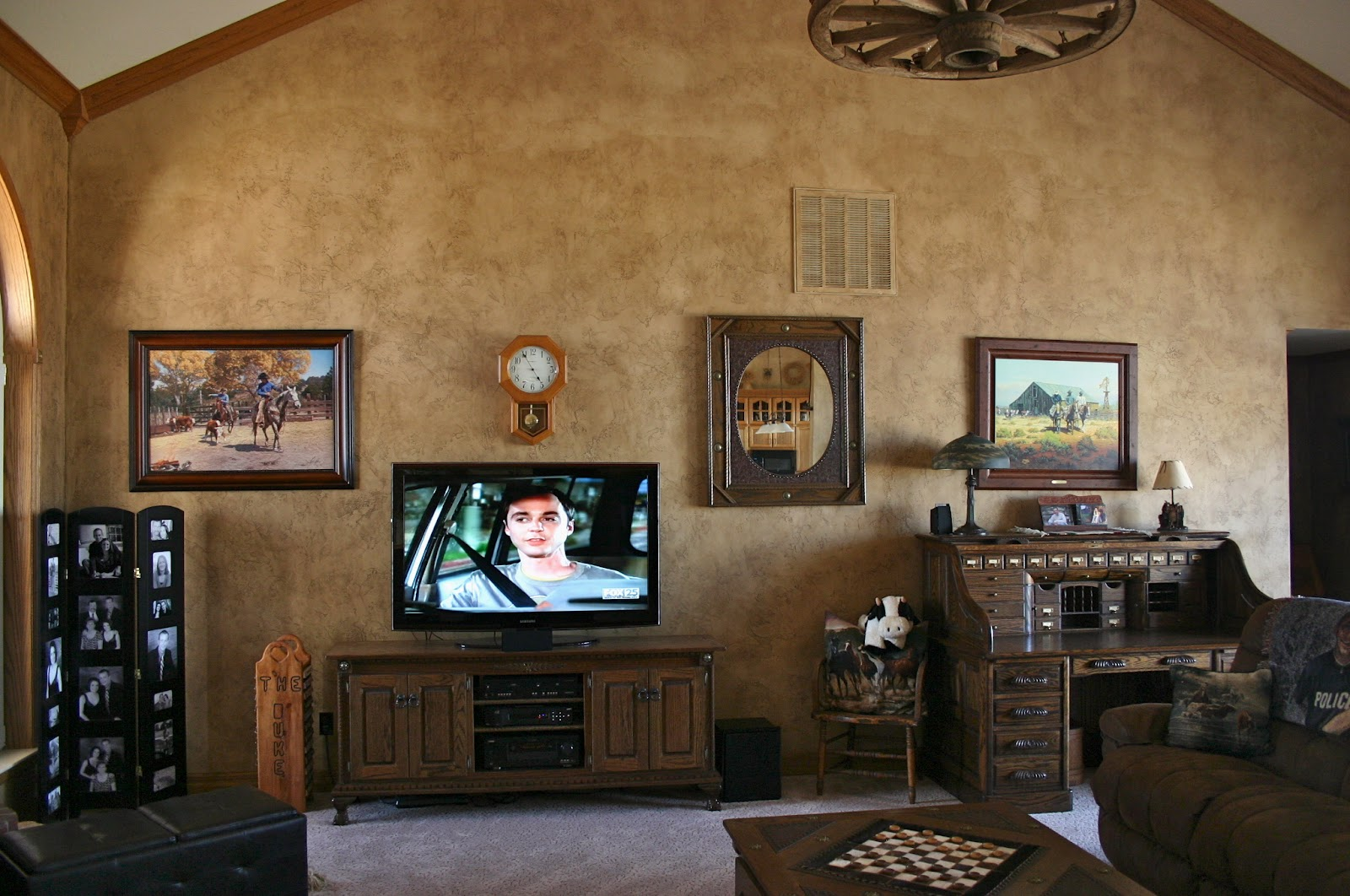 Where To Put Tv In Bedroom Country Is Stained Walls