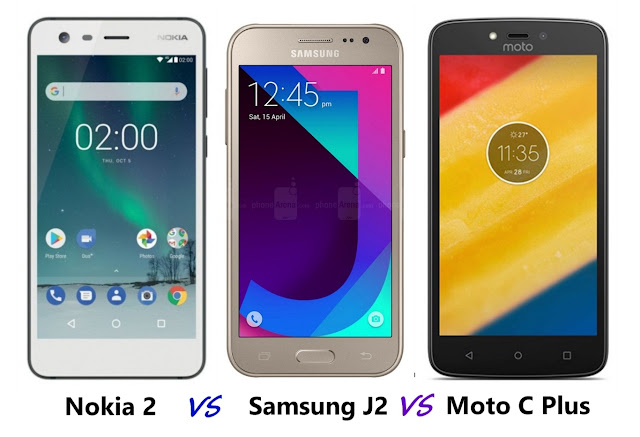 Nokia 2 vs Samsung J2 2017 vs Moto C Plus