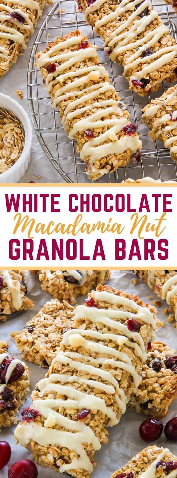 White Chocolate Cranberry Macadamia Nut Granola Bars #healthy #diet