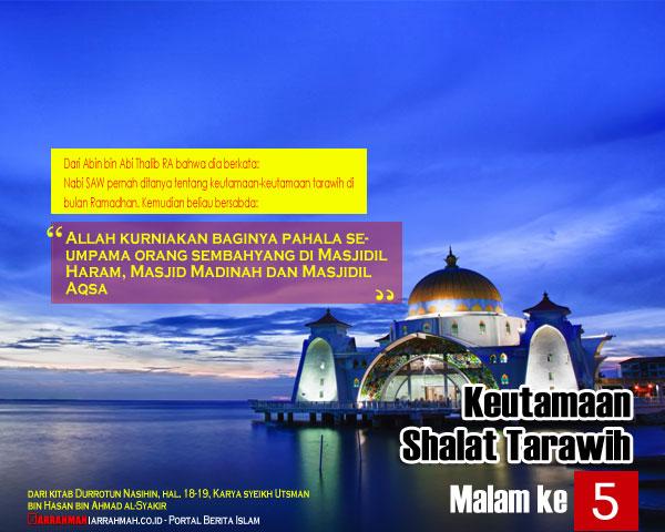 Keutamaan Shalat Tarawih Malam Kelima Ramadhan