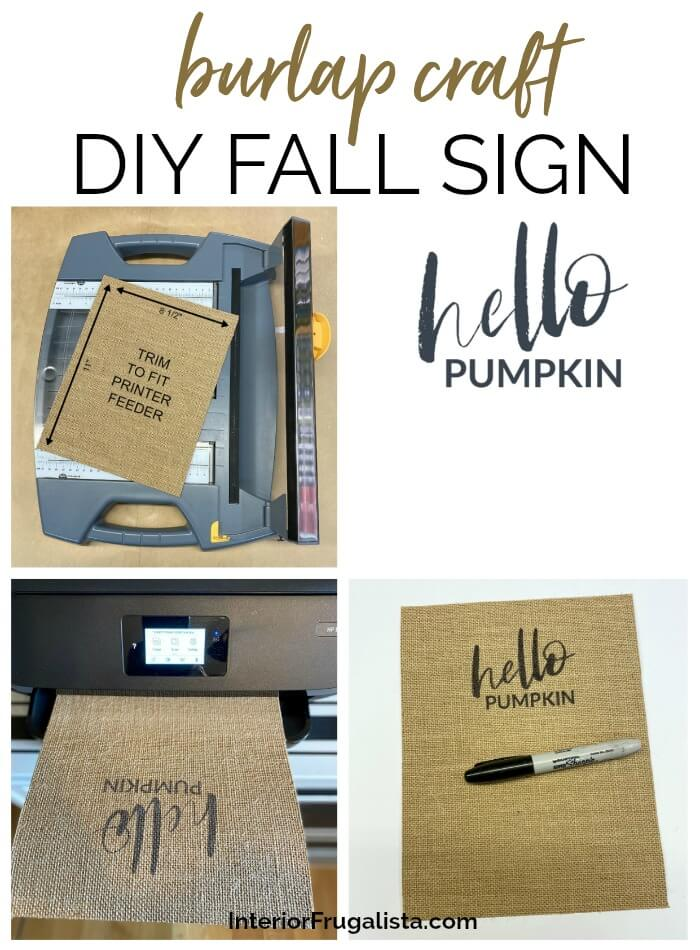Burlap Craft DIY Fall Sign