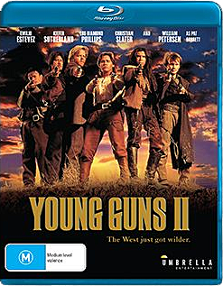 Cover art for Umbrella Entertainment's Blu-ray of YOUNG GUNS II.