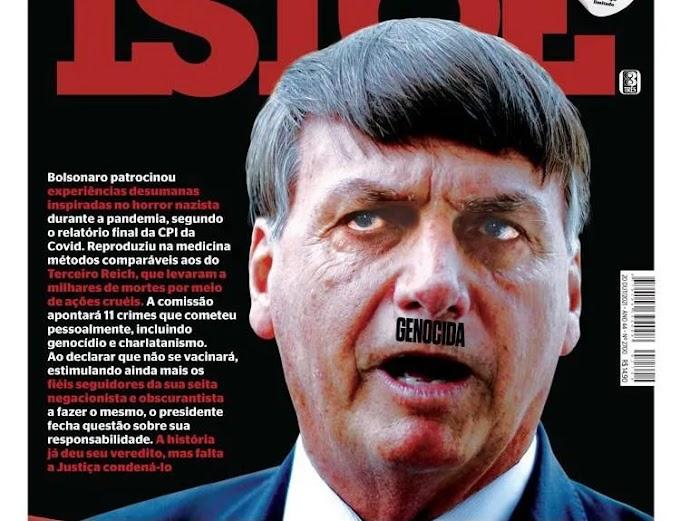 """Revista retrata Bolsonaro como Hitler e chama presidente de """"genocida"""""""