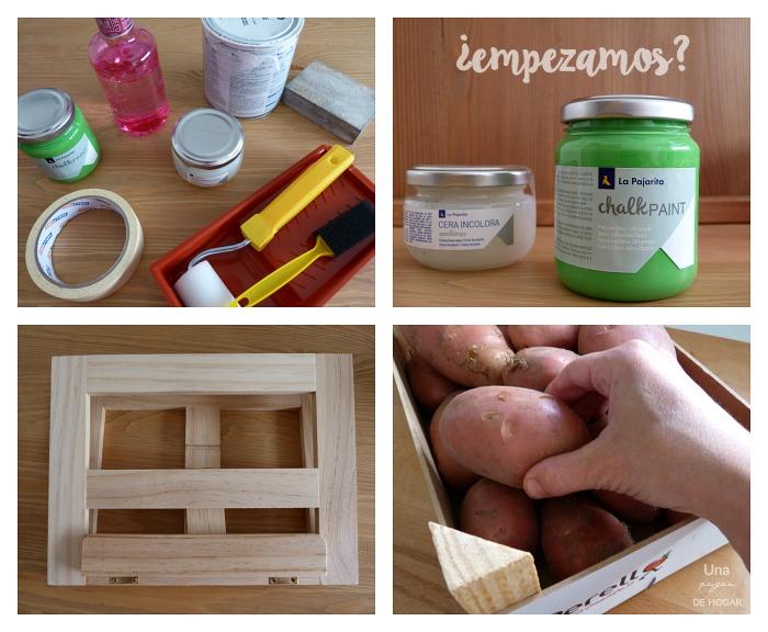 materiales para hacer un diy con chalk paint. Caja de madera, atril