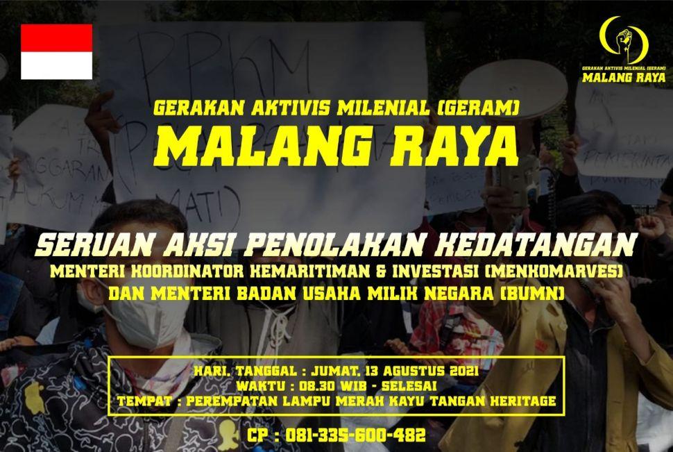 Beredar Seruan Demo Menolak Kedatangan Lord Luhut ke Malang, Berikut 4 Poin Tuntutannya