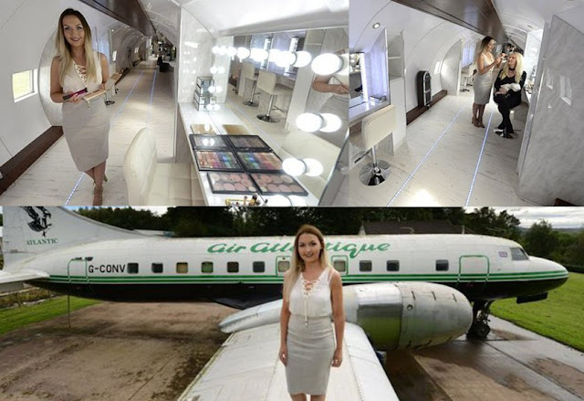 Keren! Wanita Cantik Ini Sulap Bangkai Pesawat Jadi Salon Mewah