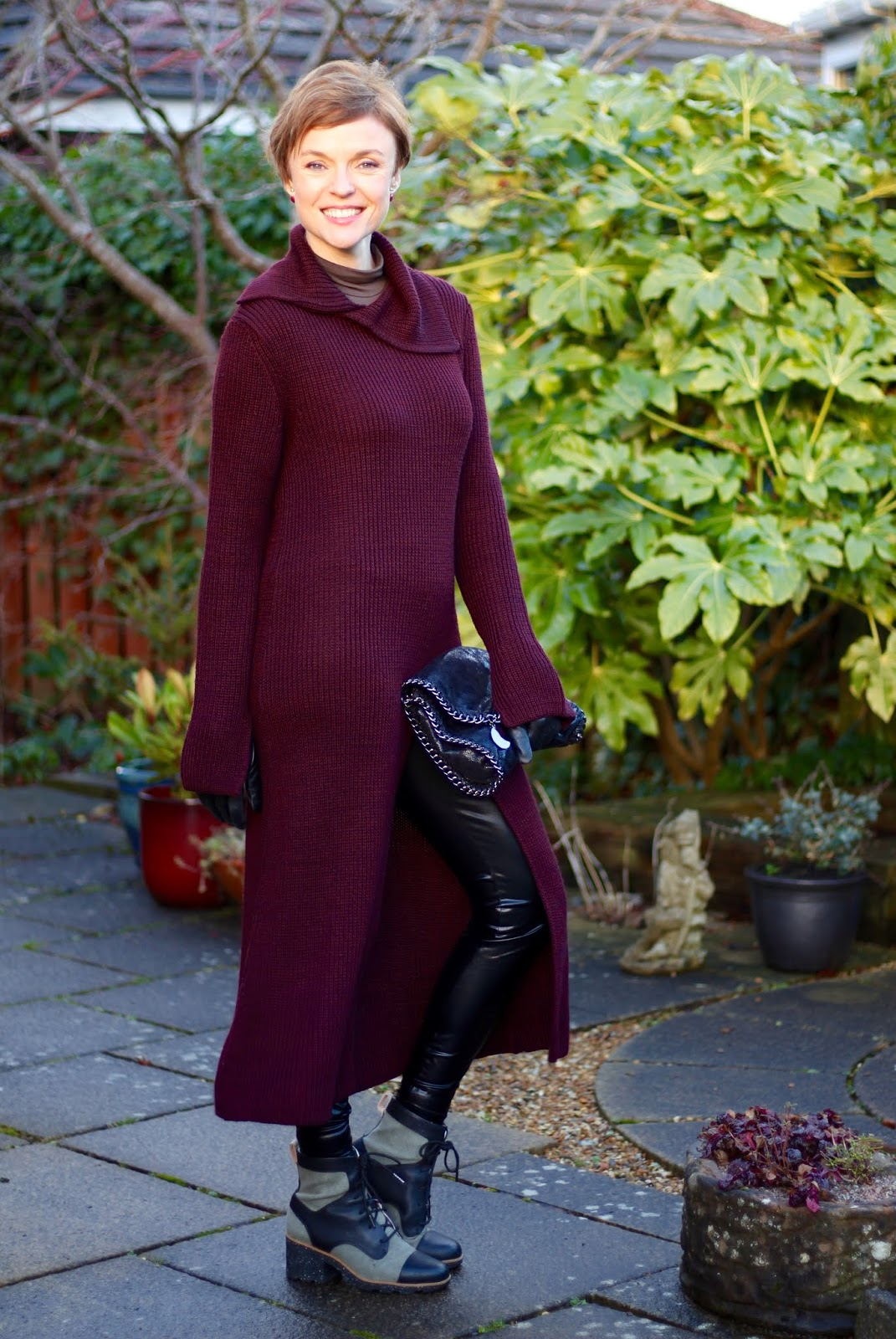 Burgundy Jumper Dress and Vinyl Leggings | Fake Fabulous