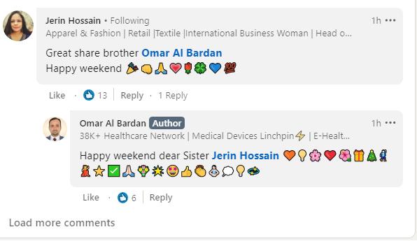 Một số biểu tượng cảm xúc khá phong phú trên Linked-in