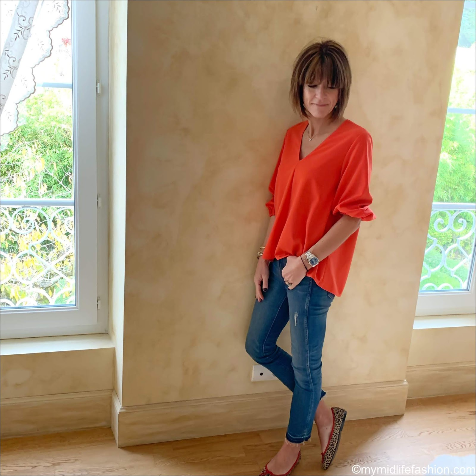 my midlife fashion, tibi blouse, j crew jeans, French sole India cheetah ballet pumps