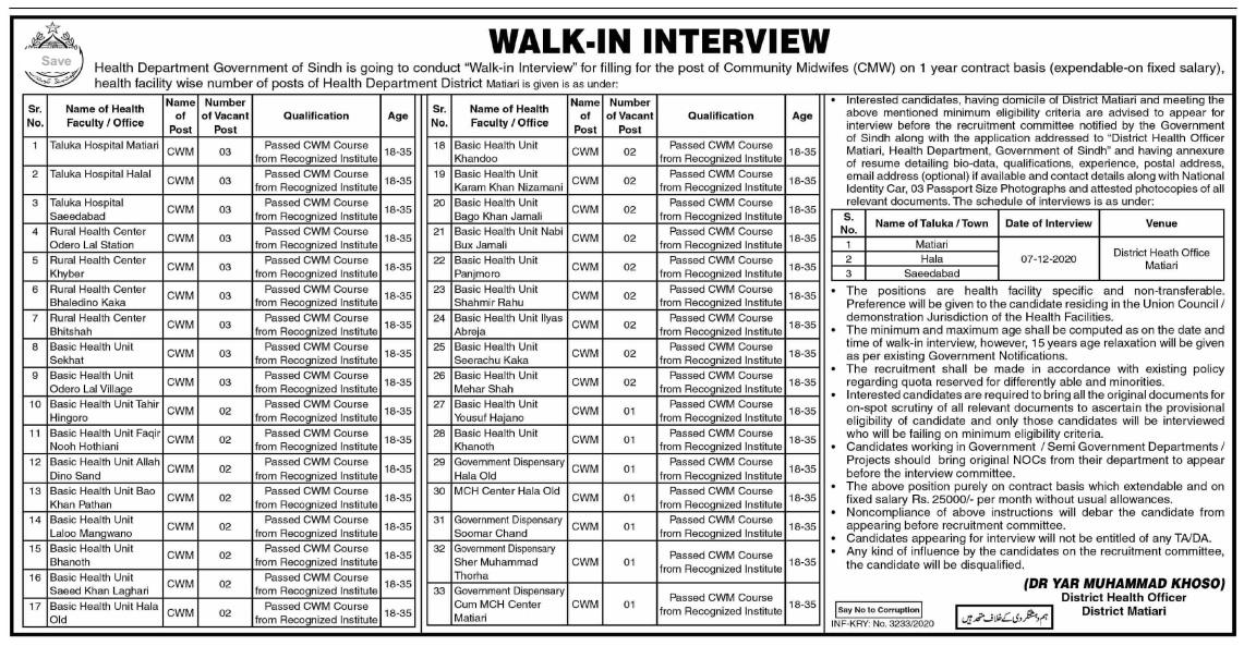 Health Department District Health Officer Jobs 2020 with 25k salary | Allsindhjobz Walk-in Interview