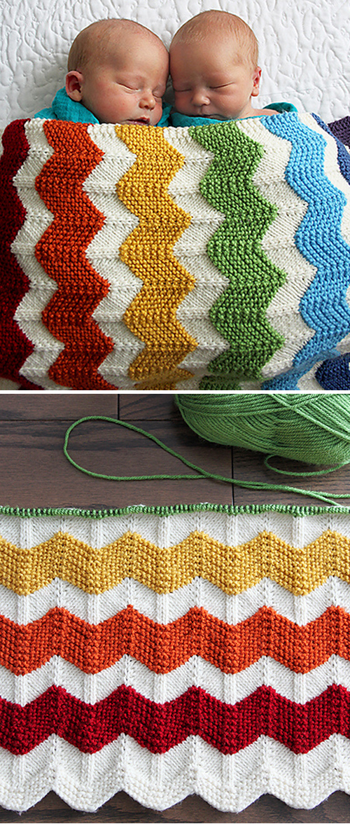 Rainbow Chevron Baby Blanket - Free Knitting Pattern