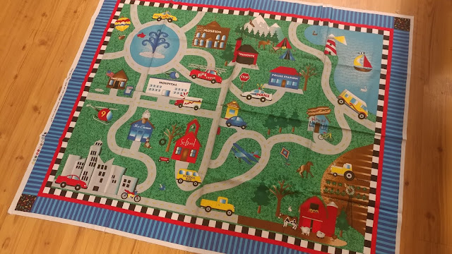Road map quilt panel