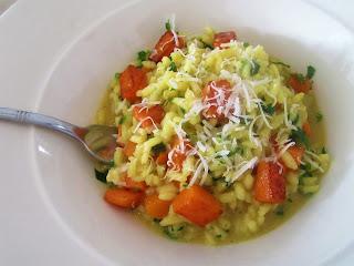 Squash, green onion and saffron risotto