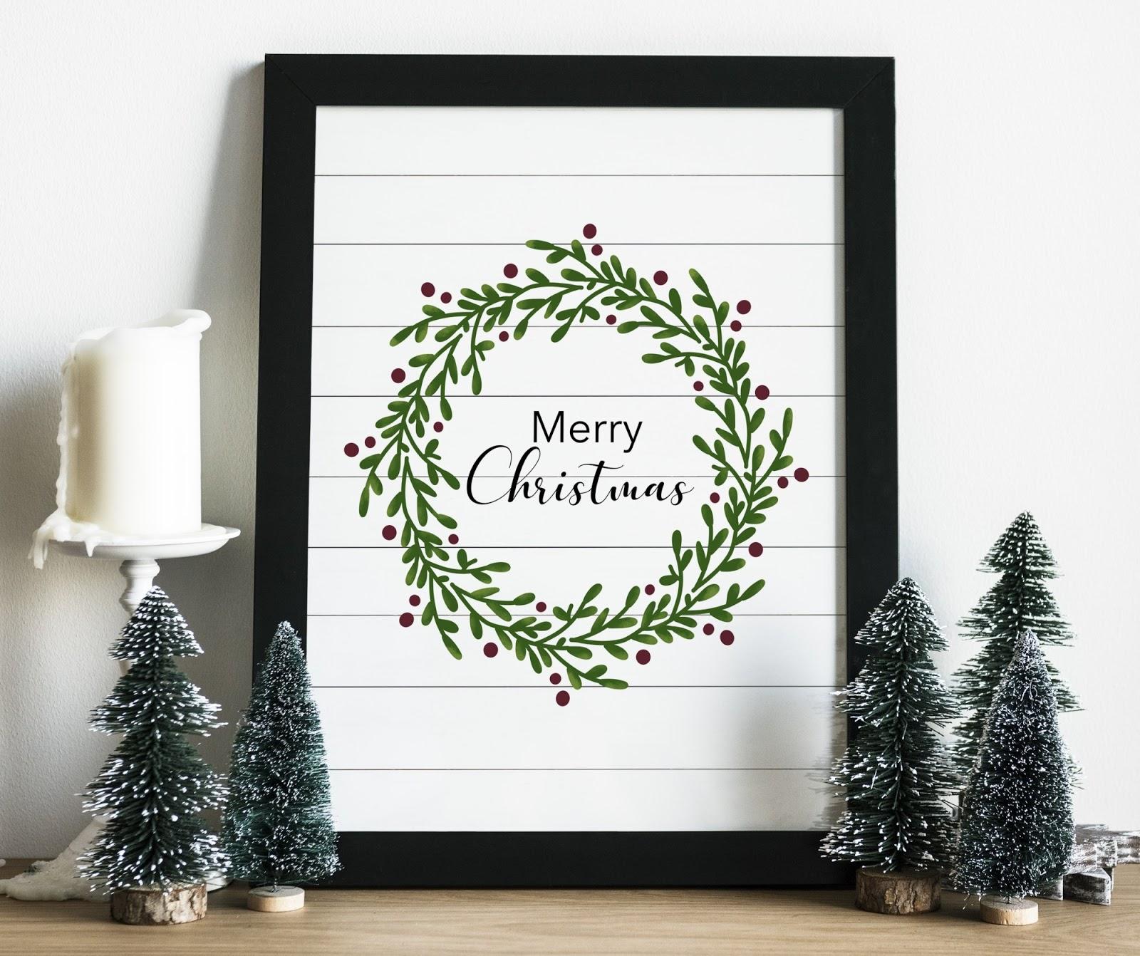 Shiplap farmhouse free Christmas wreath printable