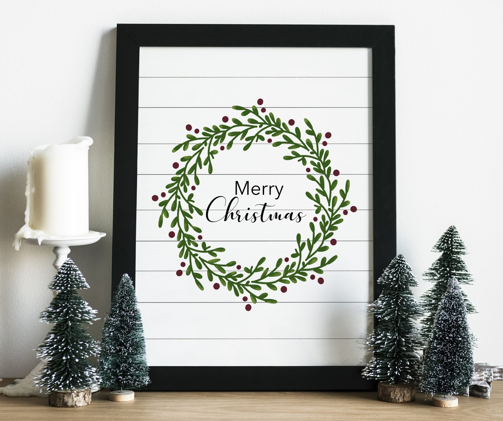 Shiplap farmhouse free Christmas wreath printable