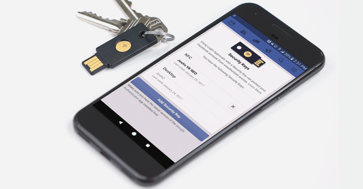 Facebook Adds FIDO U2F Security Keys Feature For Secure Logins