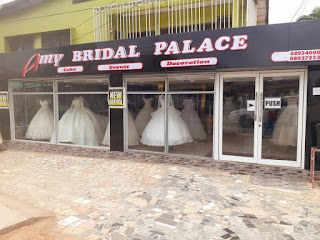 AMY BRIDALS AND EVENTS. Our sevices include: Events Manager - Ceremonial Cakes - Sales & Hiring of Bridal Gowns/Accesories - Interior & Exterior Decoration - Rental & Hiring of Catering Utensils. We are the best bridals & events planner on the east of the niger. A visit to our show room will convince and prove us right. Visit us @ No. 59 Awka Road By Savoy Junction, Onitsha, Anambra State, Nigeria. Tel. 08034000298 - 08037233399. Email: amybridalsrita@yahoo.com.