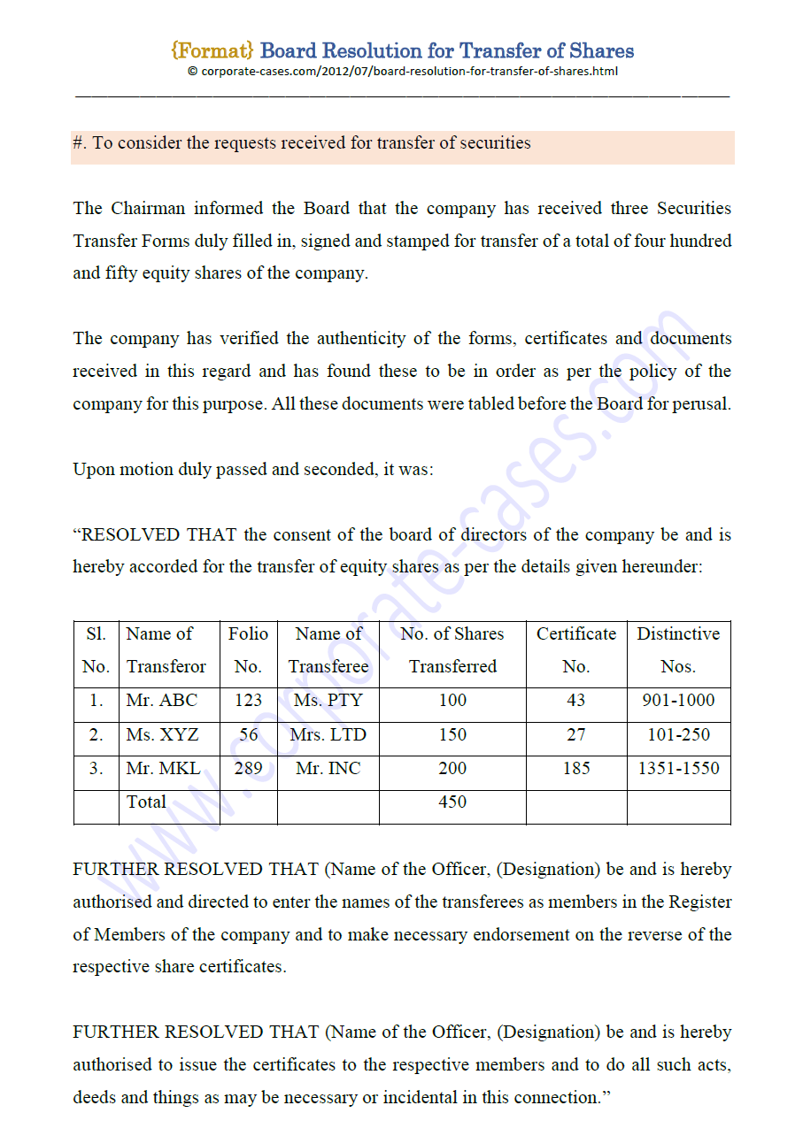 Board Resolution for Transfer of Shares under Companies Act