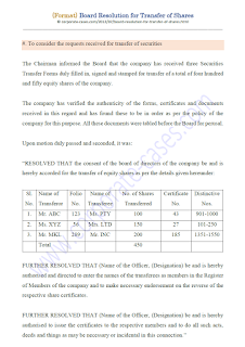 board resolution for transfer of shares under companies act 2013